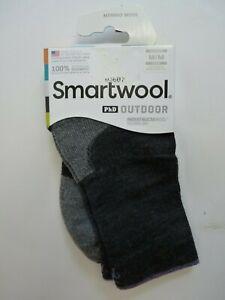 Smartwool Women's Socks PhD Outdoor Mid Crew Charcoal Gray M Merino Blend USA