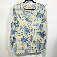 Lucky Brand SIZE:MEDIUM 100% Linen Button Down Top Blue Floral Tab L/Sleeves