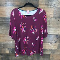 Boden Women's Maroon Floral Top With Button Split Sleeve Detail Size Us 14 Visco