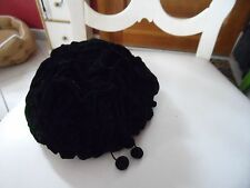 Ladies vintage black crinkle velvet pillbox hat