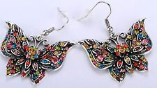 Butterfly Drop Dangle Earrings Crystal Rhinestone Bling Jewelry Multi-color EA02