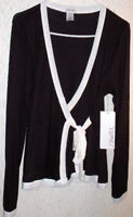 Women's Tops -Size M  Wrap Style Knit Black with White Trim