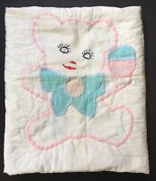 "Vintage Hand Stitched Applique Baby Quilt ~ 43"" x 35"" ~ Teddy Bear & Rattle, Bow"