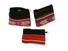 1 Pair Coin Purse Wallet Zippered ID Bag String Collar Credit Card Peru Cotton