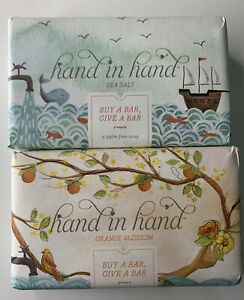 🌻NEW Hand In Hand Vegan Soap Bars ~ Orange Blossom & Sea Salt Natural CF🌻