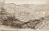HANNAH SARAH TURNER BRIGHTWEN Small Pen & Ink Drawing TORQUAY LANDSCAPE 1871