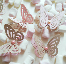 20 x PRINCESS PARTY table decorations paper 3D butterflies craft brown pink