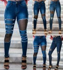 Jeans bleu sans marque pour femme