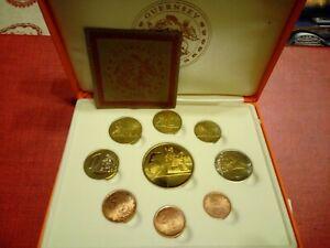 PROVA Guernsey Guernesey 2004 Euro Coin Collection 9 Monete In Cofanetto