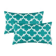 Pack of 2 Teal Bloster Covers Pillows Shells Quatrefoil Accent Geometric 30x50cm