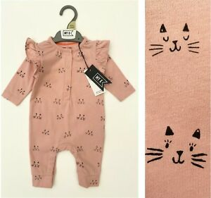 MOTHERCARE Baby Girls Romper MY K Pink Kittens Frilly Cotton Footless Outfit NEW