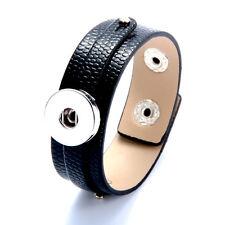 2017 1pcs Punk Leather Bangle Bracelets for Noosa Snaps Charm Button black
