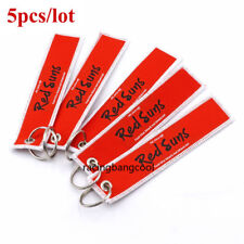 5pcs/lot Red Suns OEM Key Chain Embroidery Key Ring Luggage Safety Tag Label