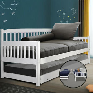 Artiss Bed Frame Single Wooden Timber Sofa Trundle Mattress Daybed Kids Adult