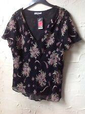 👀🌺**New**👀Marks & Spencer Size 18 (44) Black Mix Flowered Blouse Top RRP £28