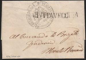 ✔️ ITALY 1855. RARE STAMPLESS DOCUMENT LETTER Prefilatelica CITTAVECCHIA GENDARM