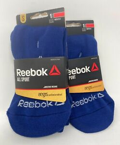 Two Reebok All Sport Youth Socks - Navy - Moisture Wicking - Small 13-4 Youth