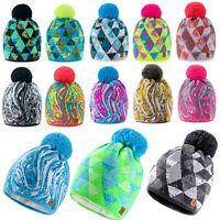 Women Men Winter Beanie Hat Multicolored Style Knitted Worm Fleece Fashion Ski