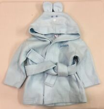 NEW~Bambini~Baby 6-12M~Bath Robe~Rabbit Bunny Ears Face~Hood~Belt~Blue~Easter!