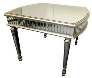4 Seater Mirrored Dining Room Table Venetian Glass Luxury Silver Furniture UK
