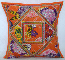 "Indian Orange Floral 16"" Handmade Cotton Kantha Work Style Cushion Cover Decor"