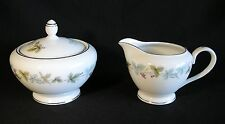 Fine China of Japan Vintage Creamer & Sugar Bowl w/ Lid 6701 Leaves Grapes EUC