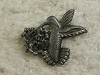 Pewter Hummingbird Pin + Pierced Earrings (A66)