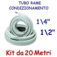 """KIT METRI 20 MT TUBO ROTOLO RAME CONDIZIONAMENTO CLIMATIZZATORE 1/4"""" + 1/2"""""""