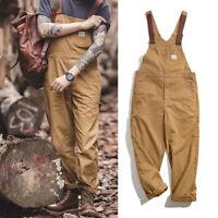 Vintage Bib Pants Men's Canvas Suspenders Khaki Overalls Pocket Baggy Trousers