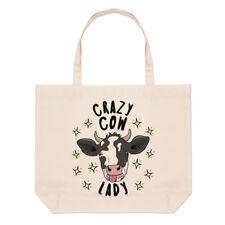 Crazy Cow Lady Stars Large Beach Tote Bag - Funny Animal Joke Shoulder