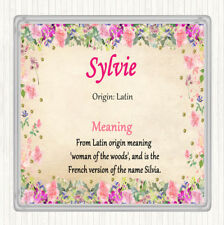 Sylvie Name Meaning Drinks Mat Coaster Floral