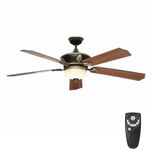 "HDC Wineberg 60"" Indoor Old World Gold Ceiling Fan w/ Light Kit & Remote"