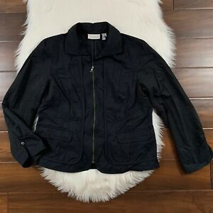 Chico's Women's Size 2 / Large / 12 Black Zipper Blazer Jacket Top Lightweight