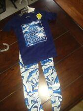 Boys size 4 blue short sleeve two-piece pajama set shark fish new no wake zone