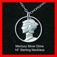 Old US 1940's Silver Mercury Liberty Dime Cut Out Coin Necklace Pendant