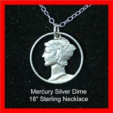 Old US 1940's Silver Mercury Liberty Dime Cut Out Coin Necklace Charm Pendant