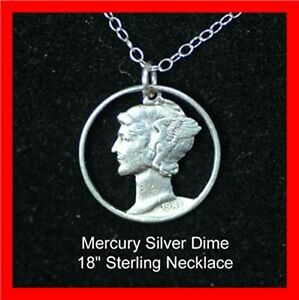 Old US 1940's Silver Mercury Liberty Dime Cut Out Coin Sterling Necklace Pendant