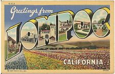 Greetings From Lompoc CA Large Letter Linen Postcard