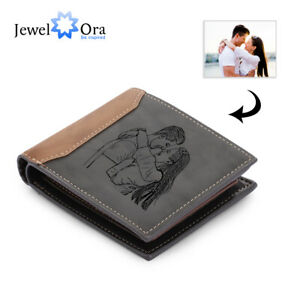 Personalised Men Wallet Custom Photo+Text Leather Brown Purse Anniversary Gift