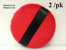 POWDER PUFF MAKEUP FACIAL PUFF  BEAUTY LARGE RED ROUND SOFT VELVET FEEL 2/PK