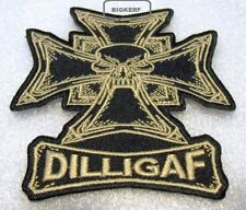 "DILLIGAF SKULL CROSS BIKER  EMBROIDER PATCH   IRON OR SEW    3 1/2"" X 4"" INCH"