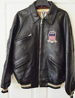 Vintage Avirex Leather Varsity Bomber Jacket Mens LT Black Embroiderd Patches