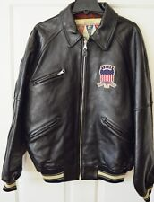 Vintage Avirex Leather Varsity Bomber Jacket Mens LT Black Embroiderd Patches