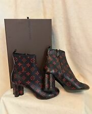 NEW Louis Vuitton Monogram BLACK RED NEW REVIVAL Ankle Boot Shoes 37, 6.5, 7