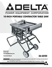"""Delta 36-6020 10"""" Portable Contractors Table Saw Instructions Manual"""