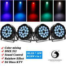 4pcs 18 LED DMX Par Light RGBW Rainbow Beam Effect Stage Lighting 6/7CH Sound DJ