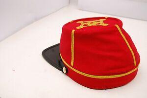 Civil War Artillery Lt 2 Row of Gold Braids Red leather peak kepi All Sizes!