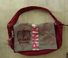 Victoria's Secret PINK Large Dark Red Canvas Travel Duffle Duffel Overnight Bag
