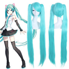 Vocaloid Hatsune Miku Light Blue Long Straight Clip Ponytails Cosplay Hair Wigs