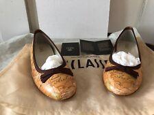 Alviero Martini Prima Classe Geo Line Leather Ballerina Shoes 38 IT Brown Bow